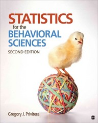 Statistics for the Behavioral Sciences 2nd Edition 9781452286907 1452286906