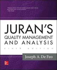 Juran's Quality Management and Analysis 6th Edition 9780077653385 0077653386