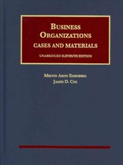 Business Organizations, Cases and Materials 11th Edition 9781609304355 1609304357