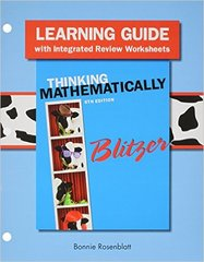 Learning Guide plus MyMathLab Student Access Card for Thinking Mathematically 6th Edition 9780133975536 0133975533