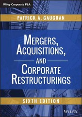 Mergers, Acquisitions, and Corporate Restructurings 6th Edition 9781118997543 1118997549