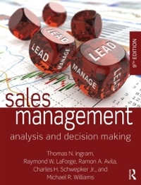 Sales management analysis and decision making 9th edition rent sales management9th fandeluxe