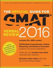 The Official Guide for GMAT Verbal Review 2016 with Online Question Bank and Exclusive Video 4th Edition 9781119042549 1119042542
