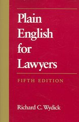 Plain English for Lawyers 5th Edition 9781594601514 1594601518