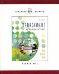 Management of a Sales Force 11th Edition 9780072398878 0072398876