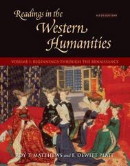 Readings in the Western Humanities, Volume 1 6th edition 9780073136394 0073136395