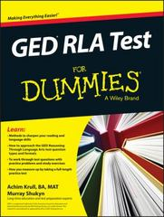 GED RLA For Dummies 1st Edition 9781119030058 1119030056