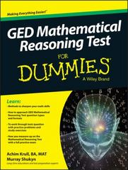 GED Mathematical Reasoning Test For Dummies 1st Edition 9781119030089 1119030080