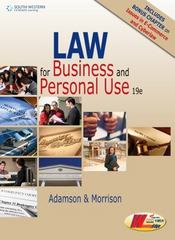 Law for Business and Personal Use, Copyright Update, 19E 19th Edition 9781305653009 1305653009