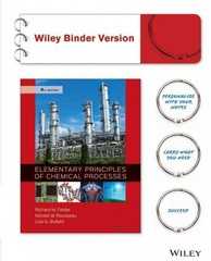 Elementary Principles of Chemical Processes 4th Edition 9781119192138 1119192137
