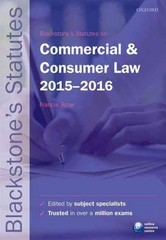 Blackstone's Statutes on Commercial & Consumer Law 2015-2016 224th Edition 9780198736004 0198736002