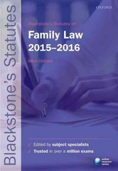 Blackstone's Statutes on Family Law 2015-2016 24th Edition 9780198736035 0198736037