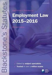Blackstone's Statutes on Employment Law 2015-2016 225th Edition 9780198736028 0198736029