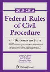 Federal Rules of Civil Procedure: with Resources for Study, 2015-2016 Statutory Supplement 1st Edition 9781454859130 145485913X