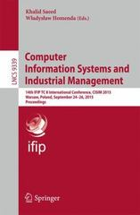 Computer Information Systems and Industrial Management 1st Edition 9783319243696 3319243691