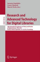 Research and Advanced Technology for Digital Libraries 1st Edition 9783319245911 3319245910