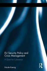 EU Security Policy and Crisis Management 1st Edition 9781138961340 1138961345
