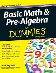 Basic Math and Pre-Algebra for Dummies 2nd Edition 9781119173816 1119173817