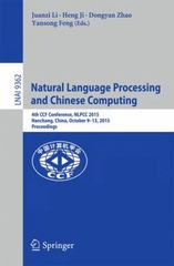 Natural Language Processing and Chinese Computing 1st Edition 9783319252070 3319252070
