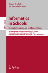 Informatics in Schools. Curricula, Competences, and Competitions 1st Edition 9783319253961 3319253964