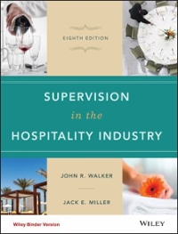 Supervision in the Hospitality Industry 8th Edition 9781119251958 1119251958
