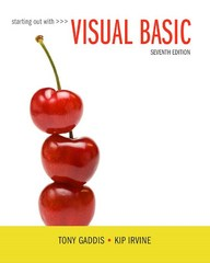 Starting Out With Visual Basic 7th Edition 9780134400150 0134400151