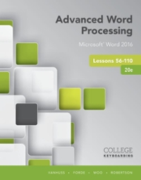 Advanced Word Processing Lessons 56-110 20th Edition 9781337103268 1337103268