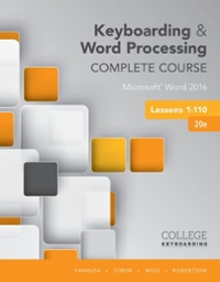 Keyboarding and Word Processing Complete Course Lessons 1-110 20th Edition 9781337103275 1337103276