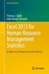 Excel 2013 for Human Resource Management Statistics 1st Edition 9783319289823 3319289829