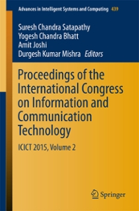 Proceedings of the International Congress on Information and Communication Technology 1st Edition 9789811007552 9811007551
