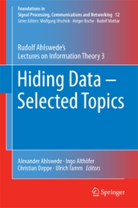 Hiding Data - Selected Topics 1st Edition 9783319315157 3319315153