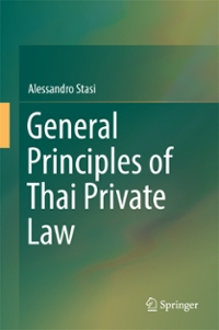 General Principles of Thai Private Law 1st Edition 9789811021916 9811021910
