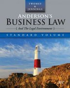 Anderson's Business Law and the Legal Environment, Standard Edition 20th edition 9780324638301 0324638302
