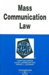 Mass Communication Law in a Nutshell 6th Edition 9780314160201 0314160205