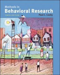 Methods in Behavioral Research 10th Edition 9780073370224 0073370223