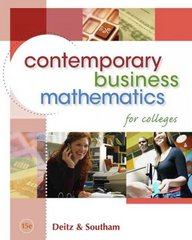 Contemporary Business Mathematics for Colleges (with CD-ROM) 15th Edition 9780324663167 0324663161