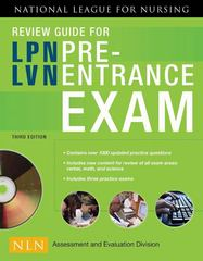 Review Guide for LPN/LVN Pre-Entrance Exam 3rd Edition 9780763762704 0763762709