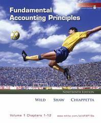 Fundamental Accounting Principles, Vol 1 (Chapters 1-12) 19th edition 9780073366296 0073366293