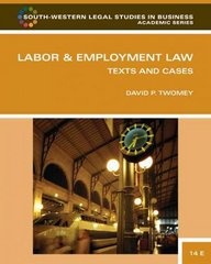 Labor and Employment Law 14th Edition 9781111783723 1111783721