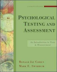 Psychological Testing and Assessment 7th edition 9780073129099 0073129097