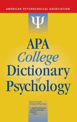 APA College Dictionary of Psychology 1st Edition 9781433804335 1433804336