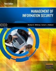 Management of Information Security 3rd Edition 9781111791629 1111791627