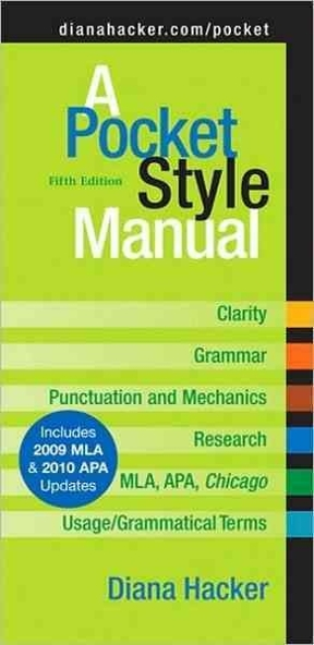 A Pocket Style Manual With 2009 Mla And 2010 Apa Updates 5th Edition