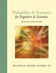 Probability and Statistics for Engineers and Scientists 9th edition 9780321629111 0321629116