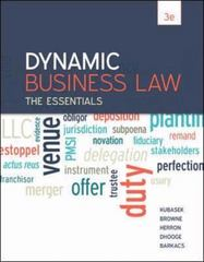 Dynamic Business Law 3rd Edition 9780078023842 007802384X
