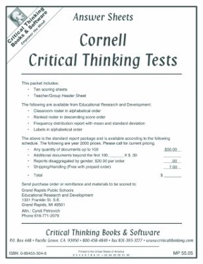 cornell critical thinking test series answers Alongside a series of model eliciting activities to develop the cornell critical thinking test: evaluating critical thinking and problem solving.